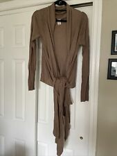 Crane & Lion Yoga Wrap Sweater High Low Hem Viscose Rayon Cotton Cocoa Brown M L