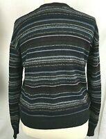 CROFT & BARROW Men Sweater XL Pullover Black Blue Crew Neck Long Slv Textured
