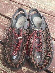 Men's Keen Uneek Round Cord Red Dahlia / Raya #1014620 water sandals 8 / 40.5