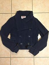 True Religion Brand Womens Navy Blue Belted Peacoat Jacket Size Small VGUC