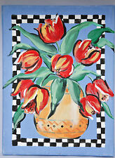 Original Painting Red Tulips Blue Back Oil/Acrylic on Canvas Signed Cathy Daley