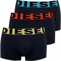 Diesel 3-Pack Contrasting Waistband Boxer Trunks, Navy with yellow/orange/blue