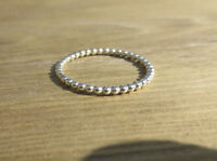 Handmade Sterling Silver 1.5mm beaded stacking ring