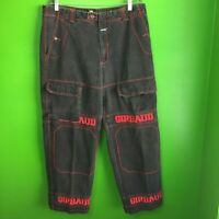 Marithe Francois Girbaud Mens 38 x 32 Loose Baggy Hip Hop Jeans Black Red Logo