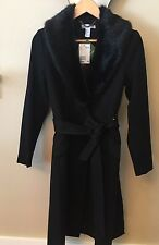 H&M Coat Black Wool Blend w/Black Faux Fur Collar Size 4 NWT