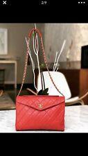 AUTHENTIC Chanel Vintage Lambskin Medium Envelope Flap Bag Red