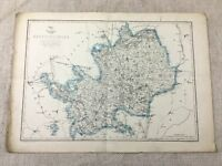 Antique Map Hertfordshire County England 19th Century Old Hand Coloured