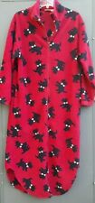 Delicates Womens Sz SM Long Flannel Robe Red With Black Dogs Full Zip