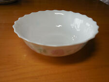 Arcopal France CHLOE Set of 4 Coupe Cereal Bowls 7 Scalloped Pink Blue Flowers A