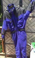 Vtg 80s 90s Men's One Piece Ski Suit Inside Edge Blue Snow Winter Snowsuit L