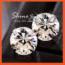 925 STERLING SILVER MENS WOMENS GIRLS SOLID ROUND STUD EARRINGS LAB DIAMOND GIFT