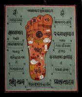 Spiritual Religious Footprint Tantra Painting Indian Hindu Handmade Art
