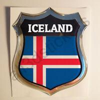 Sticker Iceland Emblem 3D Resin Domed Gel Iceland Flag Vinyl Decal Car Laptop