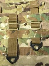 2 TACTICAL TAN BLACK MULTICAM MOLLE PALS WEBBING D-RING ADAPTER T-RING ACCESSORY