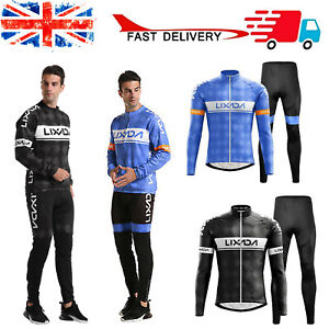 Mens Cycling Clothing Winter Fleece Jersey & Pants Set Thermal Windproof Jacket