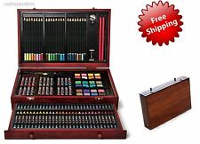 Deluxe Art Set Drawing Painting Supplies Wooden Box Case 142 Piece Drawer Artist