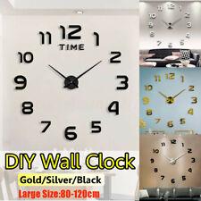 120cm DIY Large 3D Modern Number Metallic Mirror Wall Clock Sticker Home Decor