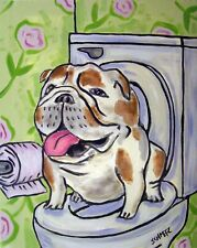 BULLDOG in the bathroom dog art print 8x10  animals impressionism
