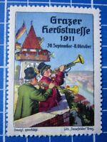 Cinderella/Poster Stamp - Austria 1911 Grazer Herbstmesse Graz Fair trumpet 9501