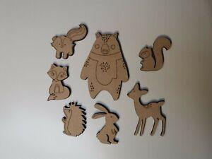 Wooden MDF Woodland Animal shapes craft Shapes x7 Embellishments