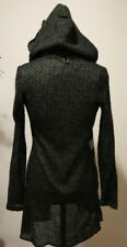 101 IDEES FUNKY HOODED FRONT TIE KNOT WOOL BLEND LONG CARDIGAN SWEATER SIZE S