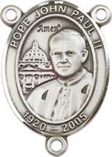 Sterling Silver Saint John Paul II Rosary Centerpiece Medal, 3/4 Inch