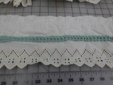 """NEW  6"""" TRIM WHITE WITH TEAL CREAM THREAD ON EDGE MANY YRDS  ALL BASTED TOGETHER"""