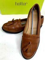 Hotter Womens Flats Kiltie Tassel Hamlet Brown Leather Loafer Shoes Size 7 Eu 38