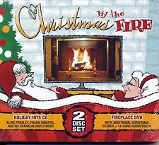 CHRISTMAS BY THE FIRE 2 DISC SET - HOLIDAY HITS CD & FIREPLACE DVD NEW SEALED