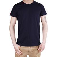 T-Shirt Uomo Maglia Mezza Manica Girocollo Casual Blu Ricamo Rosso Cotone SARANI