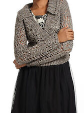 Metallic Openwork Cropped Cardigan Sweater Top Size Medium NW ANTHROPOLOGIE Tag