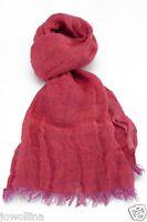 Leinen Schal mit Fransen aus 100% gewaschenem  Leinen (48 x 170 cm) rosa/violett