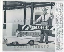 1958 Chicago Tollway Policeman Stops 4 Year Old Boy in Midget Car Press Photo