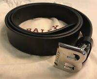 450$ Bally Men's Black Leather Belt Size 110/44 Made in Italy