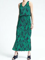 NWT Banana Republic $158 Women Fern Print Layered Pleat Maxi Dress Size S, M, L