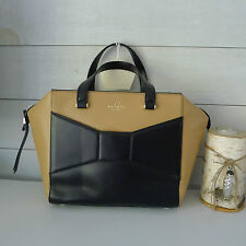 KATE SPADE LEATHER 2 Park Avenue BEAU HANDBAG Bow BLACK Macchiato BAG Sold Out !