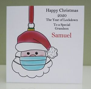 Personalised Christmas Card Santa - Grandson Brother Any Relative - Lockdown