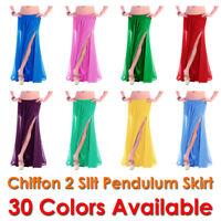 2 Side Slit Skirts Chiffon Full Belly Dance Gypsy Tribal Costume 9 Yard Jupe