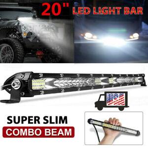 20 inch Slim LED Light Bar Single Row Combo for UTV UTE ATV 4WD Offroad Truck US