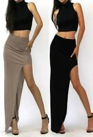 Women Side Slit Waist Dress Ladies Slim Sexy Strapless Maxi Long Split Plain