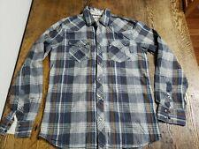 Mens Vans Flannel Plaid Snap Button Shirt Sz Medium