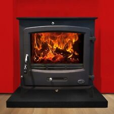 Heritage Glenveagh Mor 30Kw Room Heater Wood Log Burner Boiler Stove Matt Black