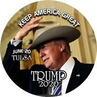 "TWO (2) TRUMP 2020 IN COWBOY HAT Tulsa OKLA. 3"" Pin back Button"