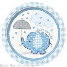 """BLUE UMBRELLAPHANTS Baby Shower Boy Party Tableware Plate 9"""" Paper PLATES x8"""