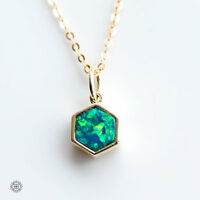 Hexagon Australian Doublet Black Opal Pendant Necklace 14k Yellow Gold