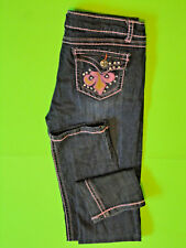 MISS CHIC {Size 13} Junior's Pink Stitch Rhinestone Studded Slim Jeans VERY NICE