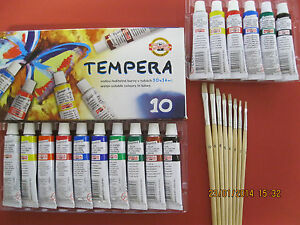 SET 10er SCHULMALFARBEN TUBE TEMPERA-FARBEN MALFARBEN +6er SET PINSEL MALPINSEL