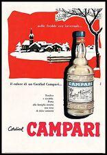 PUBBLICITA' 1957 CORDIAL CAMPARI BOTTIGLIA INVERNO FREDDO PAESAGGIO NEVE ROLLI