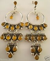 TAXCO MEXICAN STERLING SILVER AMBER BEADED BEAD HOOP DANGLE EARRINGS MEXICO