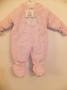 NEW JUST TOO CUTE QUALITY BABY GIRL'S ROMPER SUIT SNOWSUIT PINK AGES 0-3 MONTHS